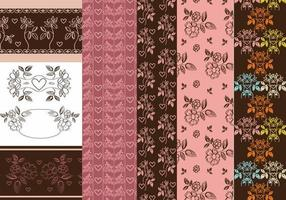 Vintage Heart och Flower Patterns & Vector Pack