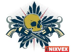 NixVex Skull with Guns Free Vector