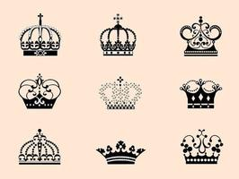 9 Detailed Crowns Vectors