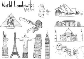 Free Hand Drawn World Landmark Vectors!!!