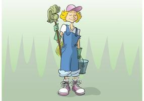 Cartoon Cleaning Lady Vector
