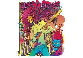 Cartel psicodélico del cartel de la estrella del rock