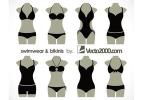 Ilustração vetorial de roupa de banho e biquínis