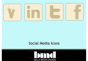 Muted Social Media icons, y compris Vecteezy