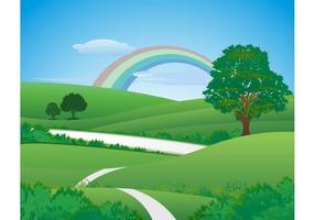 Paisaje verde fresco con arco iris