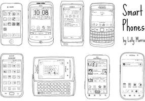 Free Hand Drawn Smart Phone Vectors !!!