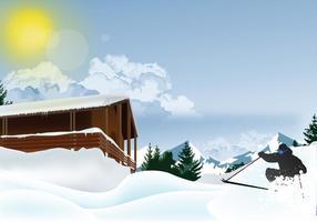 Ski dans la montagne enneigée