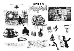 Urbano, subterráneo, vector, paquete