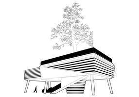 Casa alrededor del vector del árbol