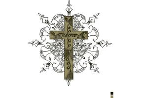 Gratis Vector T-shirt Design med kors