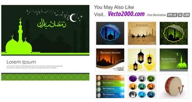 Modèle de carte de voeux islamique pour ramadan kareem ou eidilfitr