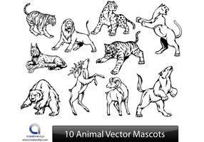 10 Mascote de vetores de animais