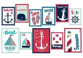 Sailor Sommer Stempel Vektor Pack
