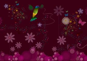 Flower Vector with Humming Bird Vector