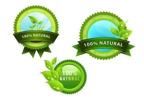 Green Natural Icon Badge Vectors