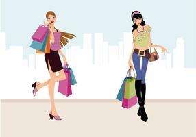 Moda vector de compras de las niñas