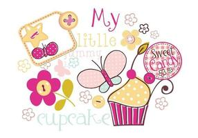 Mi Yummy Cupcake Vector Pack