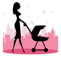 Mommy Walking Vector bebê