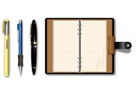 Vector de la pluma y del libro de bolsillo