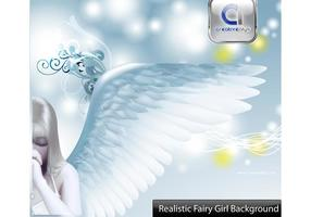 Girl Vector Fairy with Creative Background