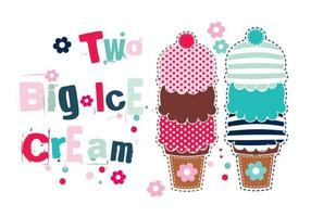 Two Big Ice Cream Cones Vector Pack
