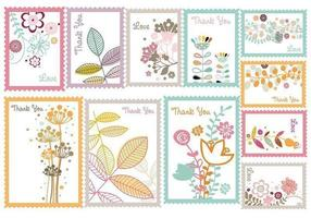 Vintage Floral Stamp Vector Pack