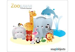Kawaii Zoo Vektor
