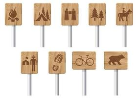 Wooden Recreation Signs Vector Pack