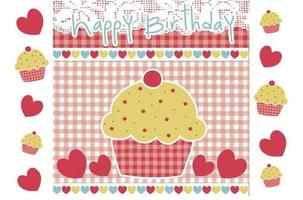 Happy Birthday Cupcake Vector and Wallpaper Pack