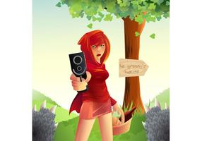 Not So Innocent Red Riding Hood Vector Illustration