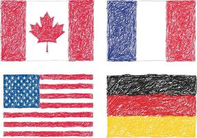 Scribble flags vector