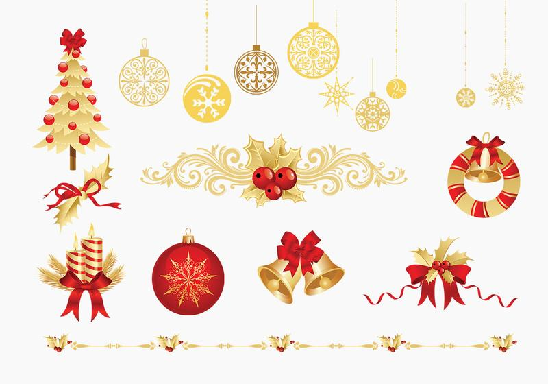 christmas vector  Golden Christmas Vector Elements Pack - Download Free Vector Art ...