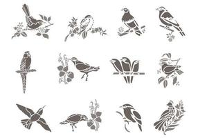 Vetores de pássaros florais