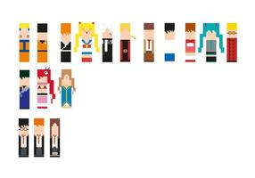 Cartoon Vector Pack of Pixelized Anime Manga Characters