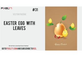 Free Easter Vector illustration with egg and leaves