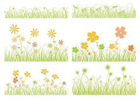 Gras Vector en Flower Vector Pack