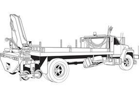 Gratis Vector Flatbed Truck med Boom Crane