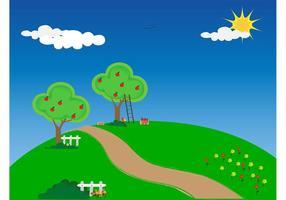 Apple Trees Vector Wallpaper