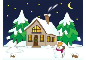 House with Snow Vector