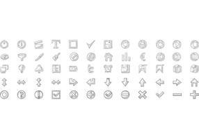 Conjunto de vetores de ícones de doodle grátis