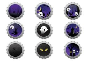 Halloween Bottle Caps Vector Pack