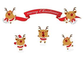 Happy Reindeer and Christmas Banner Vector Pack
