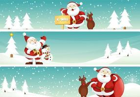 Santa and Reindeer Christmas Banner Vector Pack