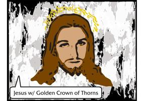 Jesus Vector med Golden Crown of Thorns - Gratis Vector