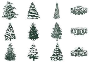 Winter Tree Vector och ljus vektor pack