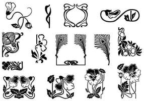 Art nouveau ornament vector pack