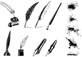 Vintage Ink Pen Vector en Splatter Vector Pack