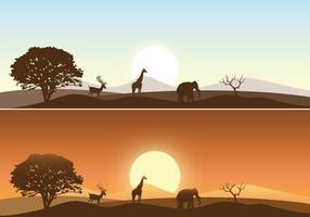 African Sunrise Landscape Vector Pack