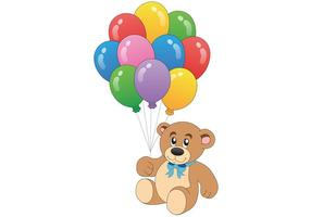 Teddy Bear Vector with Balloon Vectors