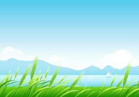 Spring-wheat-and-mountains-landscape-wallpaper-vector